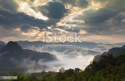 cloudy movement above on mountain at sunset time located at north of thailand