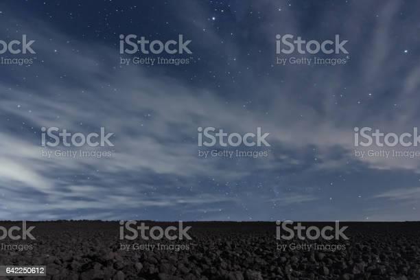Photo of Cloudy Night sky with stars. Night background. Night sky.
