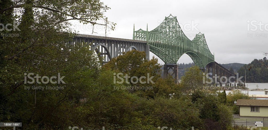 Cloudy Overcast Day McCullough Memorial Bridge Coos Bay Oregon stock photo