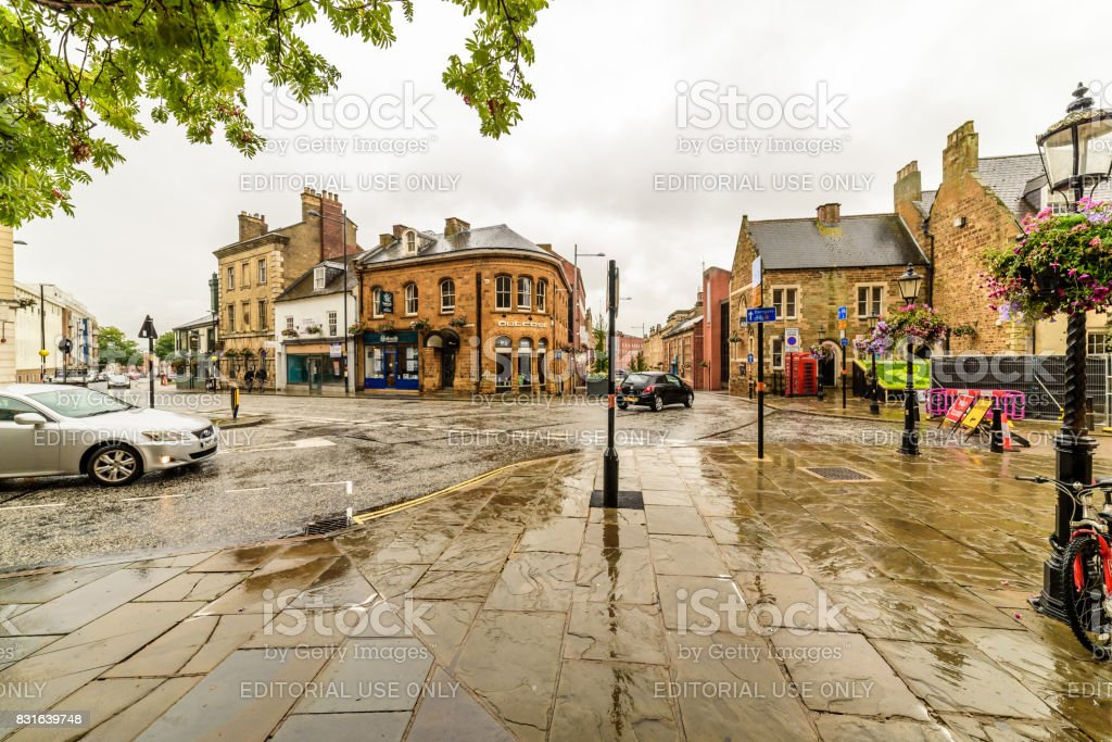 Cloudy rainy day view of Northampton Town Centre Streets stock photo