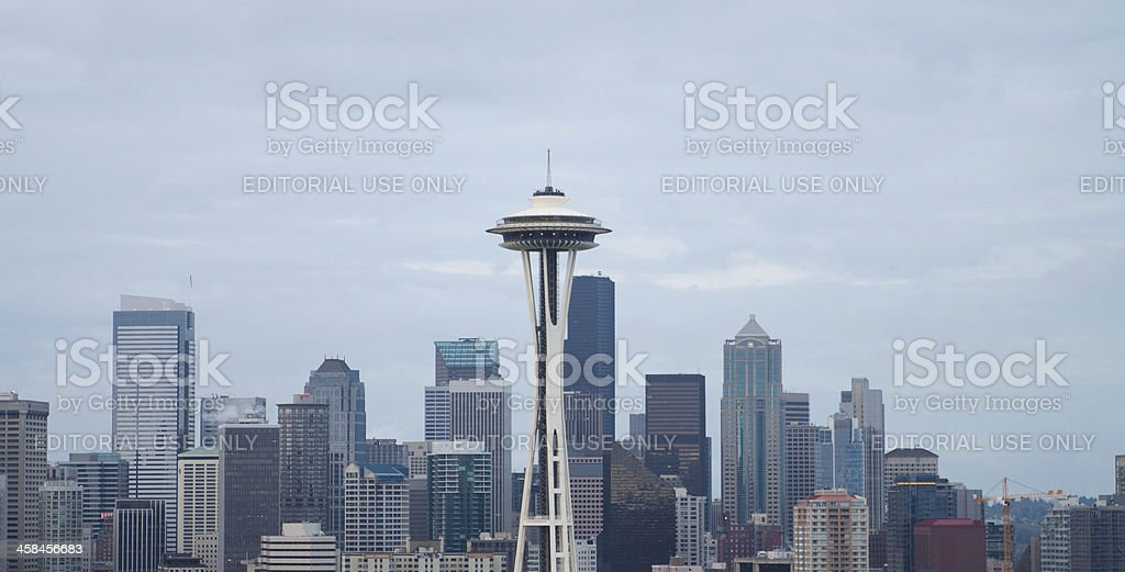 Cloudy Seattle Skyline royalty-free stock photo