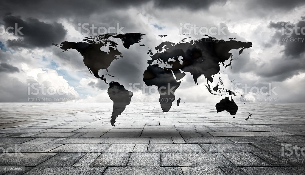 Cloudy skies and world map.