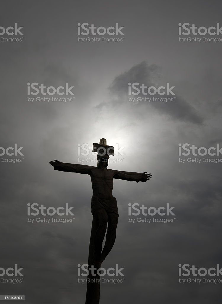 Cloudy Sky and Cross stock photo