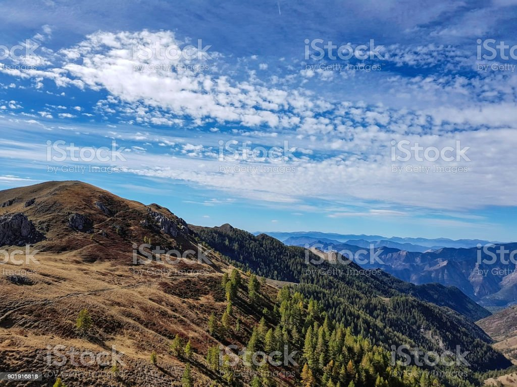 Cloudy sky and mountain landscape, Mercatour National Park, France stock photo