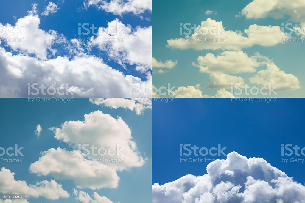 Cloudy sky collage. Summertime concept, cloudscape blue heaven foto stock royalty-free