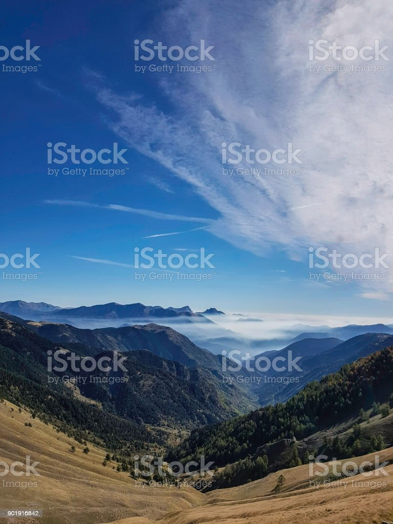 cloudy sky in mountain, Mercatour National Park, France stock photo