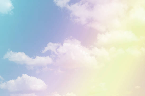 Cloudy sky in pastel colors. stock photo