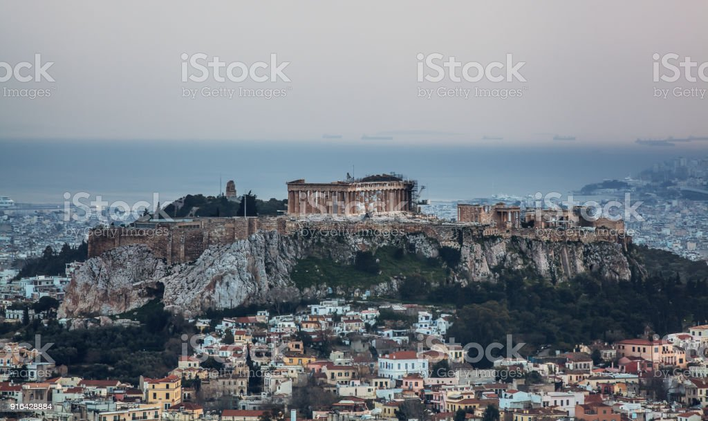 Cloudy sky over athens stock photo