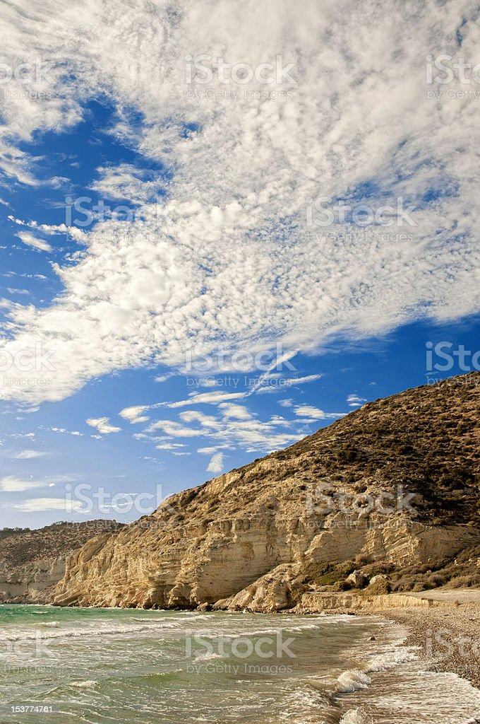 Cloudy sky over Kourion coast. Cyprus stock photo