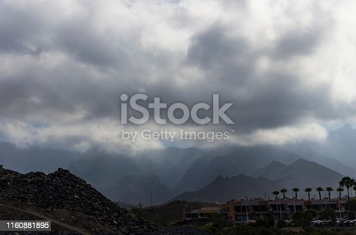 Cloudy sky over the mountains of Tenerife