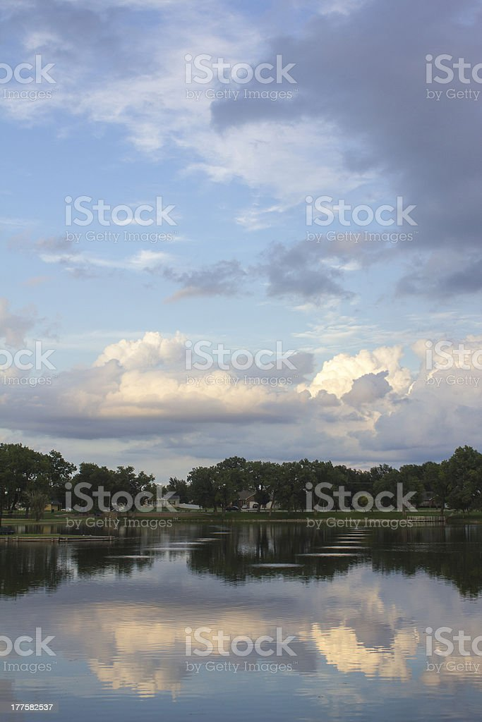 Cloudy sky reflecting in a lake royalty-free stock photo