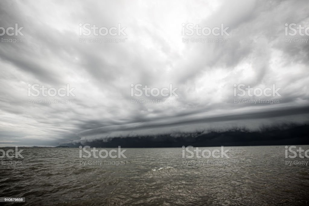 Cloudy storm in the sea before the rain. stock photo