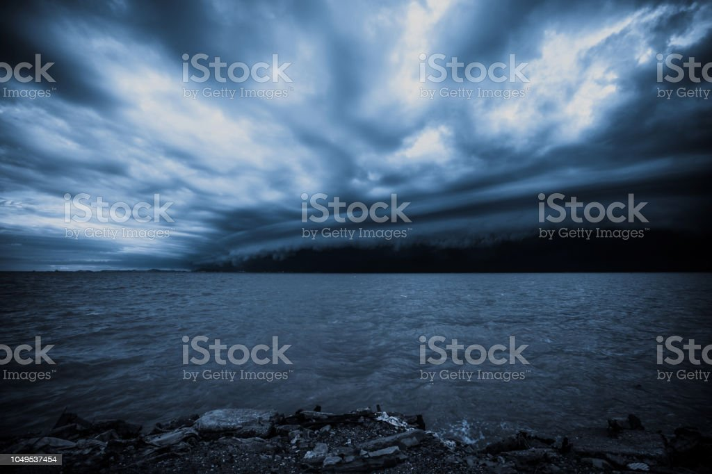 Cloudy storm in the sea before the rain. tornado storms cloud above...