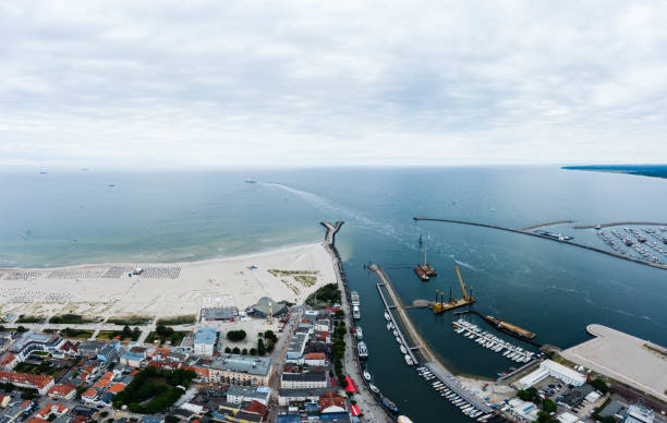 cloudy summer day in holiday at Warnemunde, Rostock stock photo