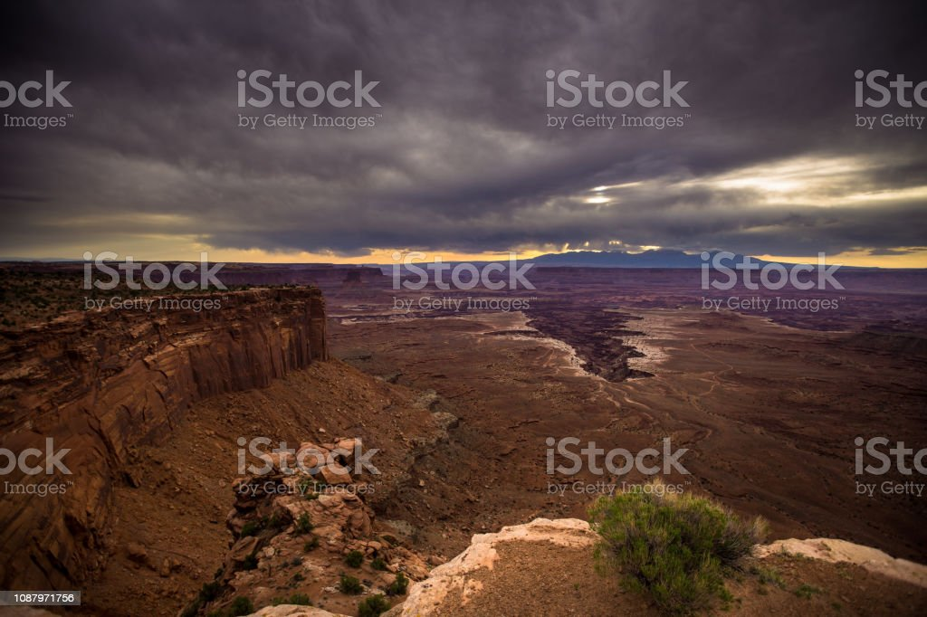 Cloudy Sunrise in Canyonlands National Park stock photo