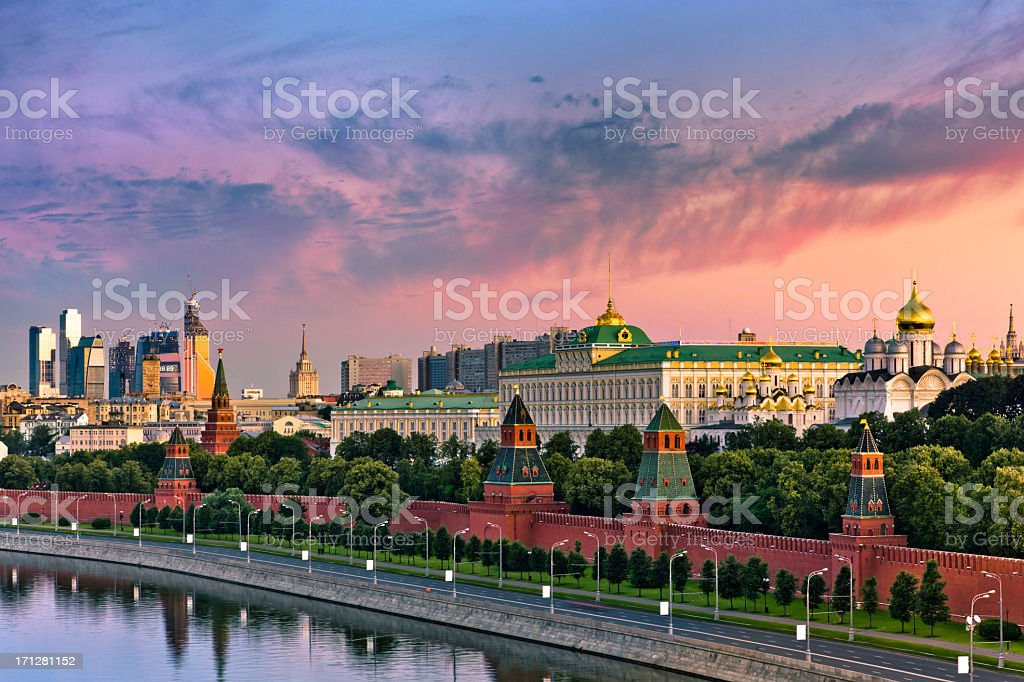 Cloudy sunrise over Kremlin wall and Moskva river stock photo