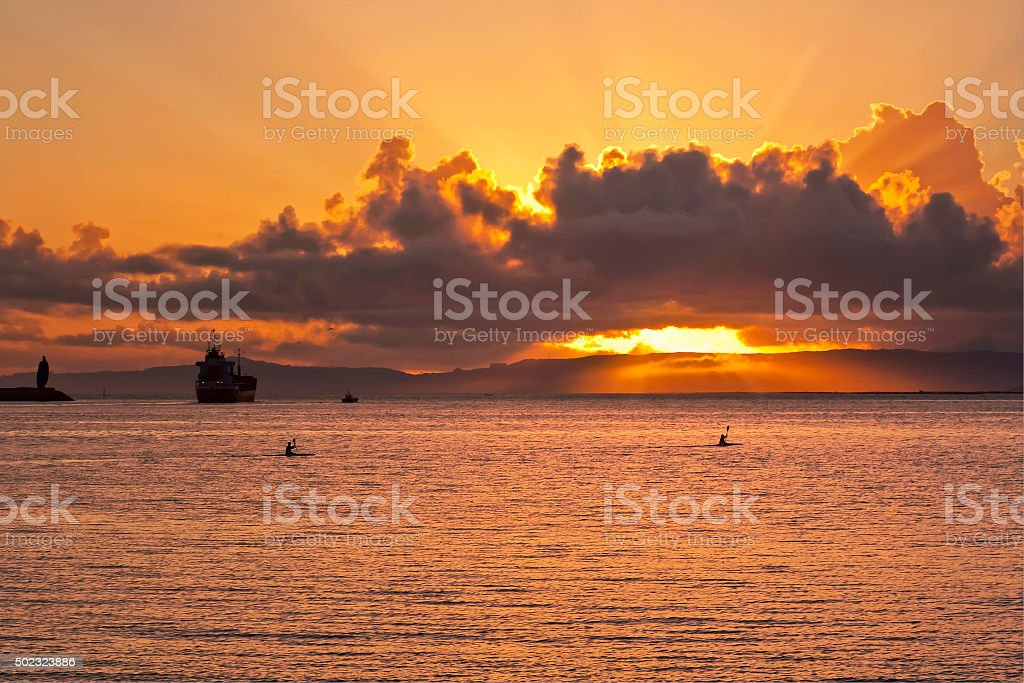Cloudy sunset on Arousa estuary stock photo