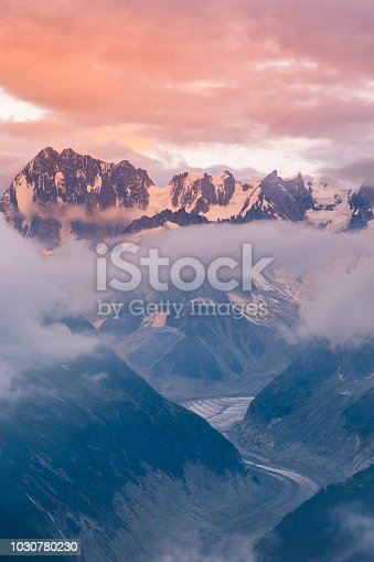 Cloudy Sunset over Iconic Mont-Blanc Mountains Range and Glaciers