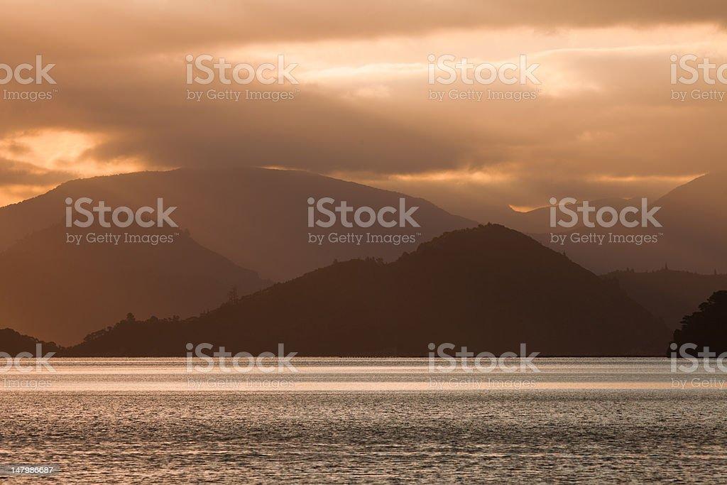 Cloudy Sunset over Marlborough Sounds, New Zealand royalty-free stock photo