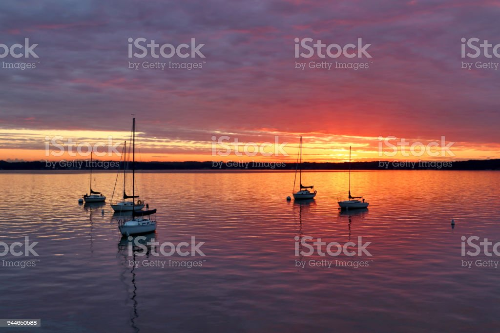 Cloudy sunset over the lake. stock photo
