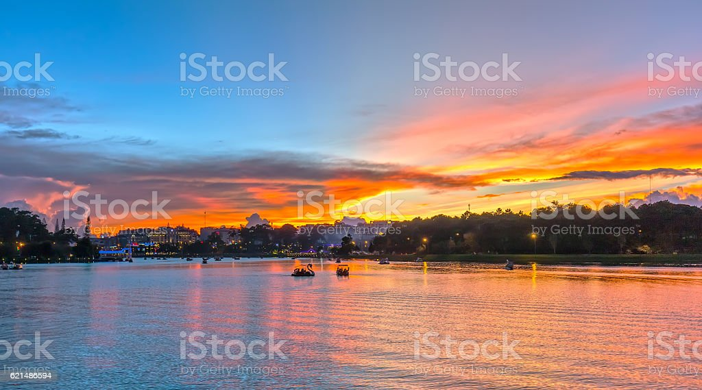 Cloudy sunset scene stock photo