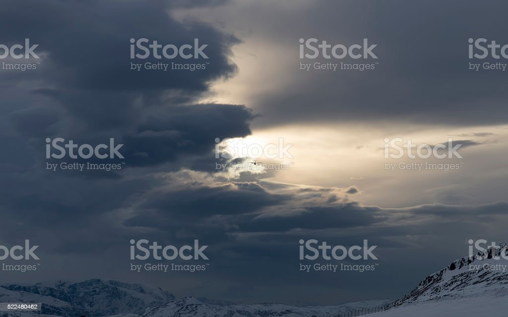Cloudy Take off stok fotoğrafı