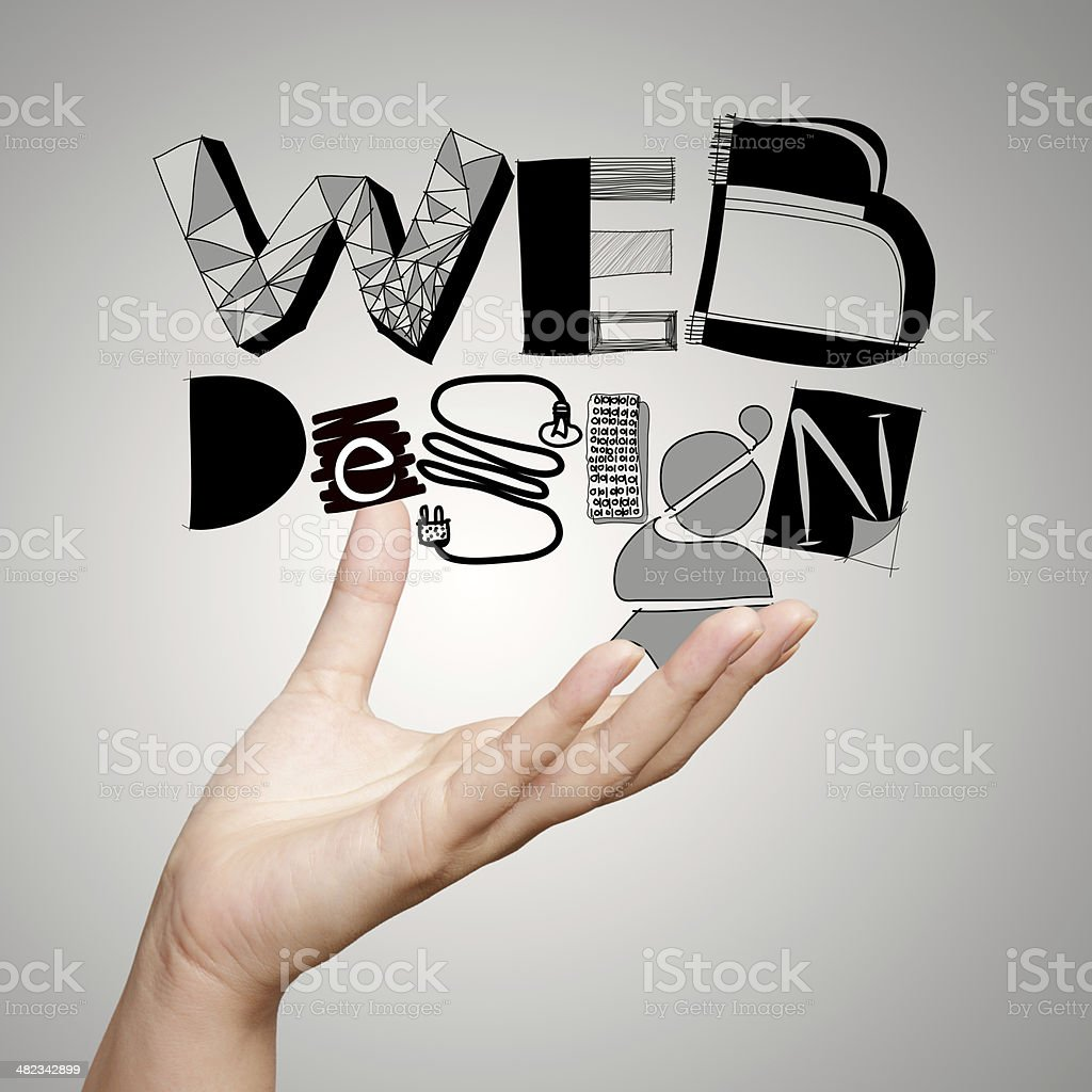 clouse up of  hand showing design word WEB DESIGN stock photo