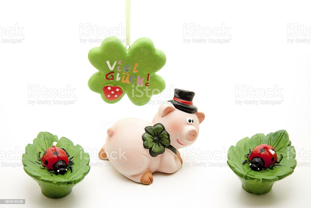 Cloverleaf and luck pig with ladybug royalty-free stock photo