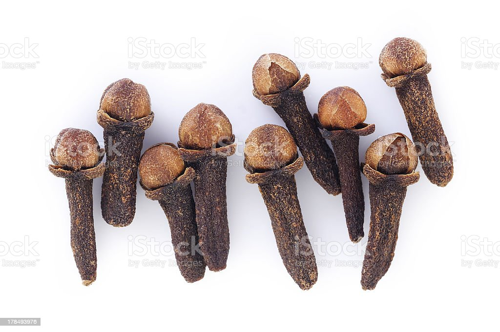 cloves on white background royalty-free stock photo