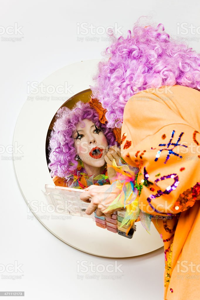Clown getting ready royalty-free stock photo
