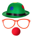 istock Clown hat with glasses and red nose 163270633