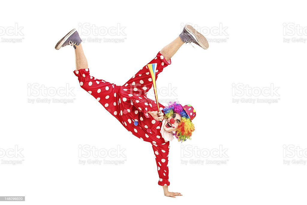 Clown holding a horn stock photo