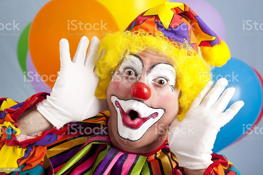 Clown Makes Funny Face stock photo
