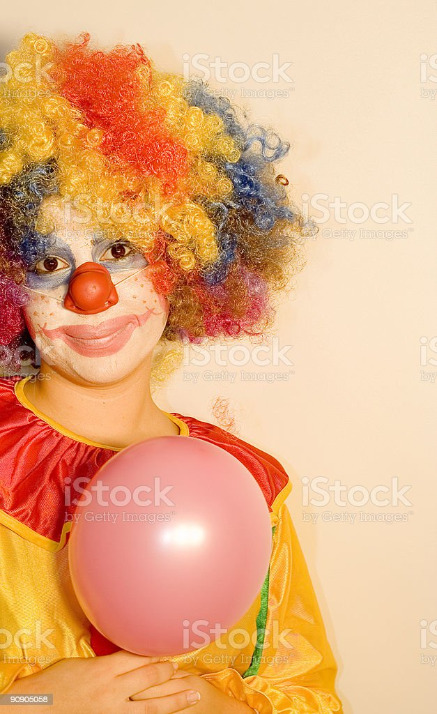 clown with balloon on the left side royalty-free stock photo