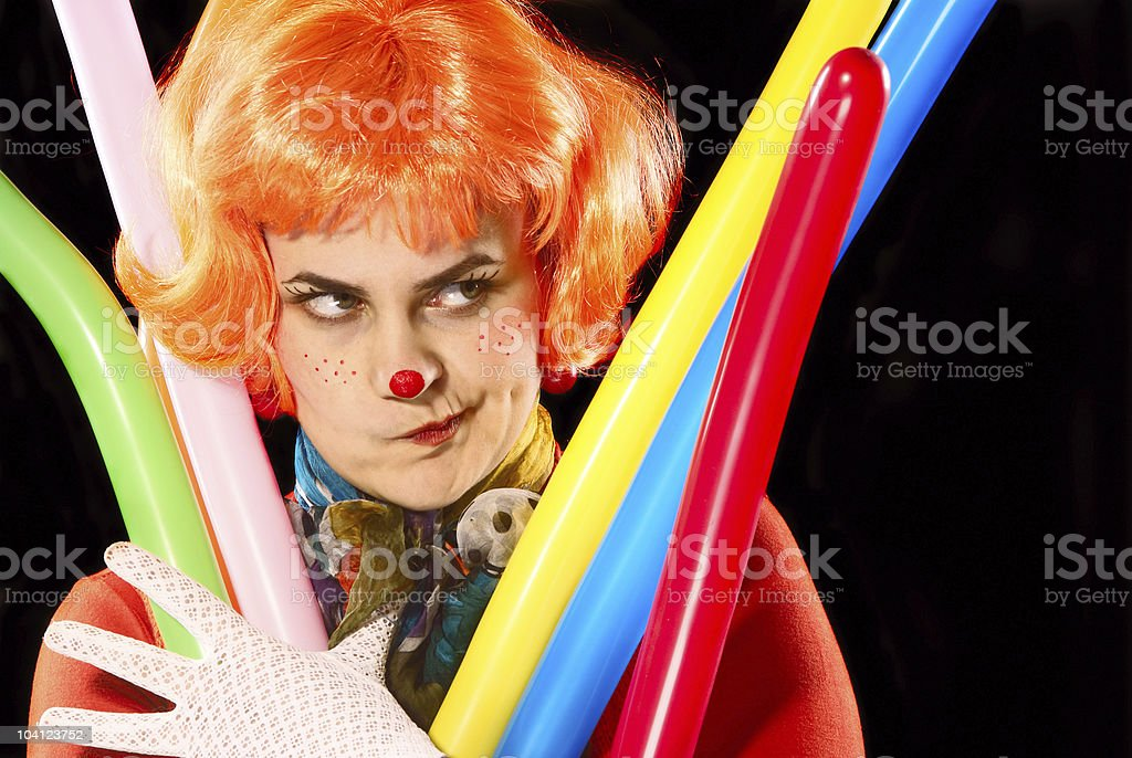 Clown with baloons. royalty-free stock photo
