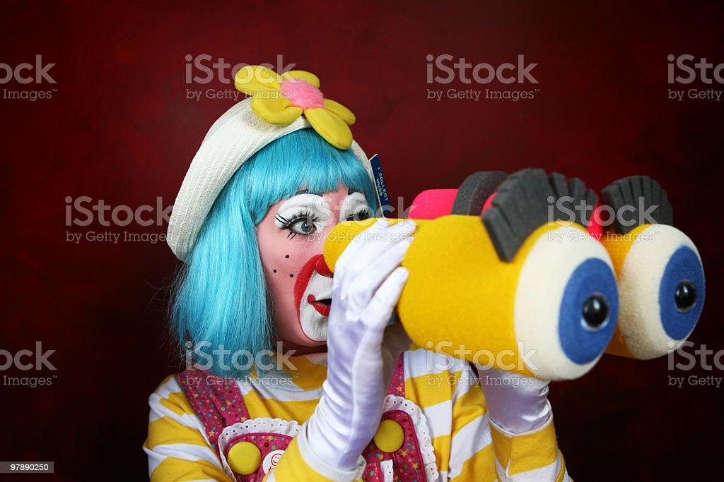 Clown with Binoculars royalty-free stock photo