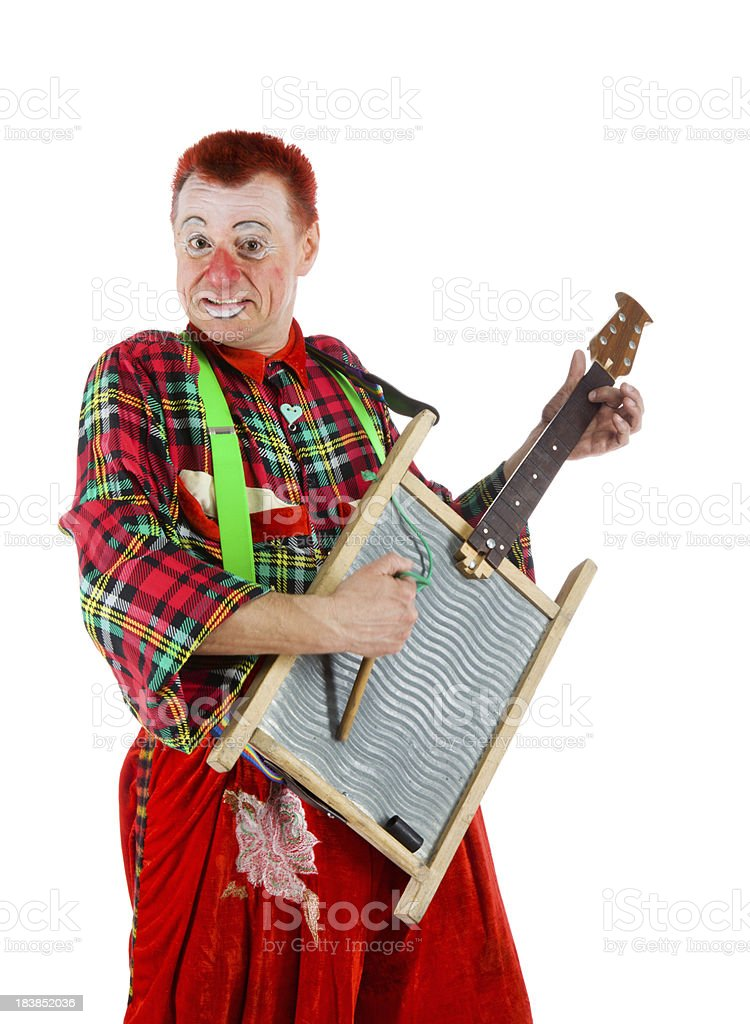 Clown with funny guitar made of grater stock photo