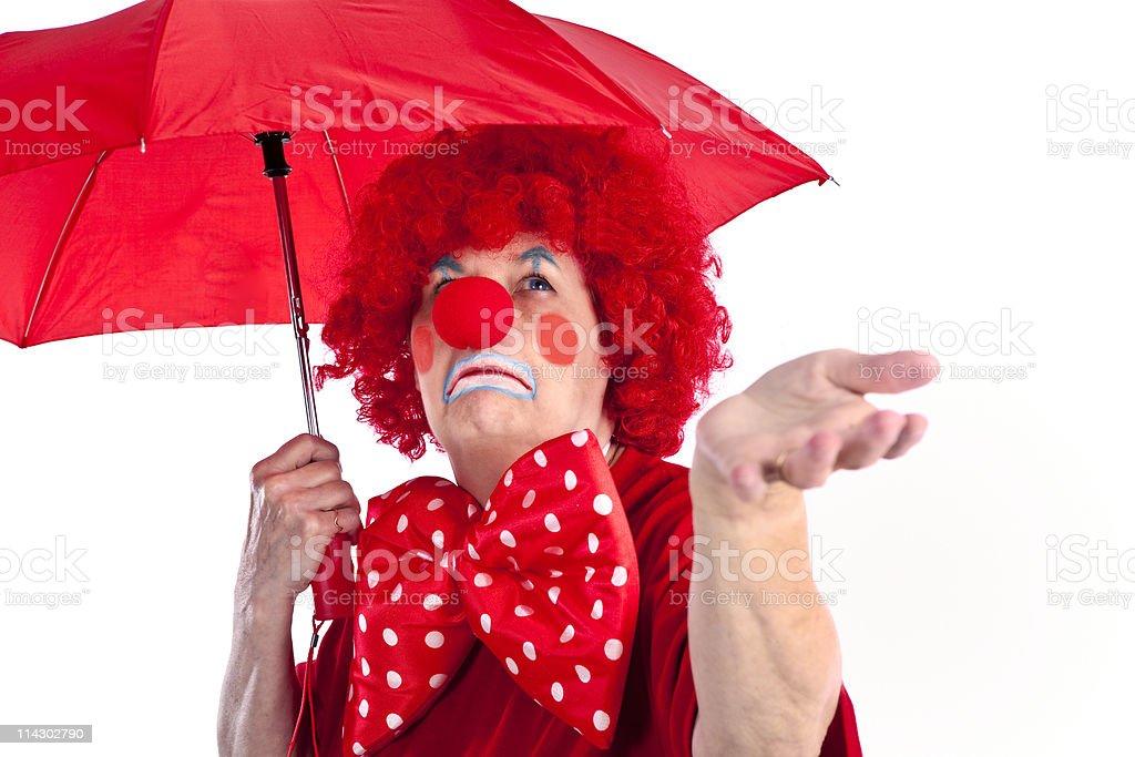 Clown With Umbrella stock photo