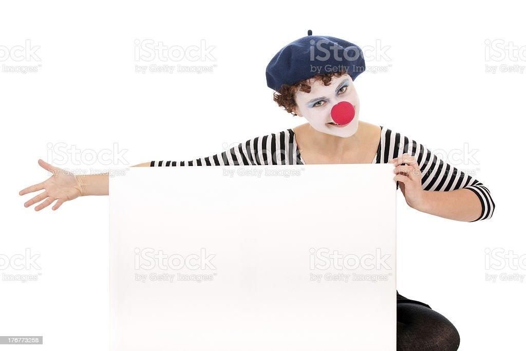clown woman holding billboard royalty-free stock photo