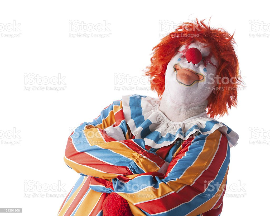 Clowns: Adult Male Smiling Arms Crossed Satisfaction Head Should royalty-free stock photo