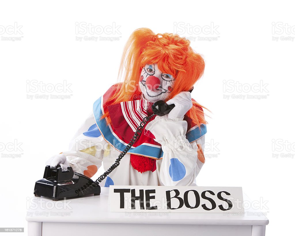 Clowns: Female Adult Boss Answering Phone Business Office Work royalty-free stock photo