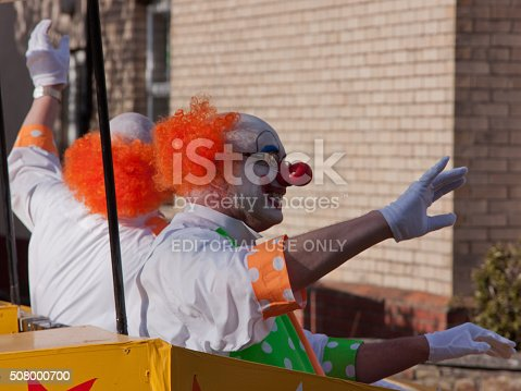 istock Clowns riding in the Grand Carnival procession, Torrington UK 508000700