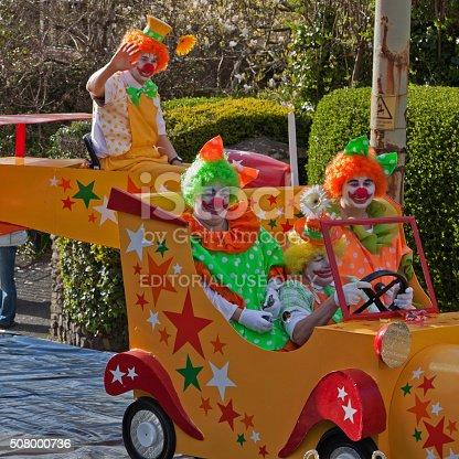 istock Clowns riding in their car in the Grand Carnival, Torrington 508000736