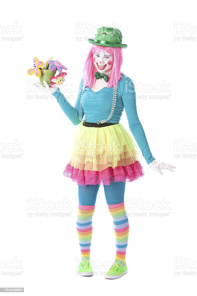 Clowns: Young Teenage Girl Mime Holding Flower Pot royalty-free stock photo