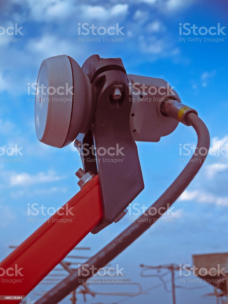 Clpse up part of a dish antenna stock photo