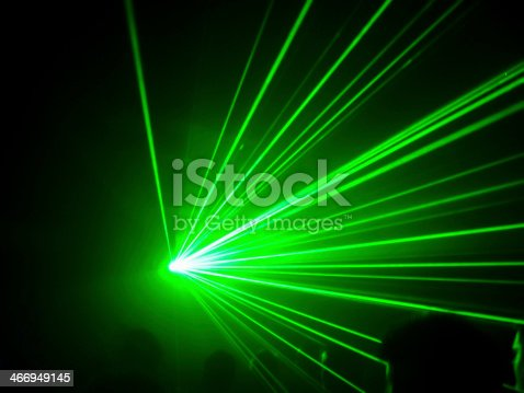 A green laser in a club