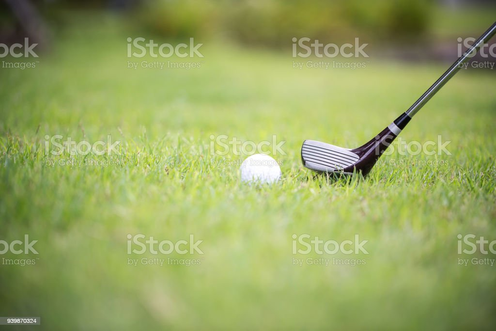 A club on a golf course. Shot from the fairway.Golf Sport Concept...