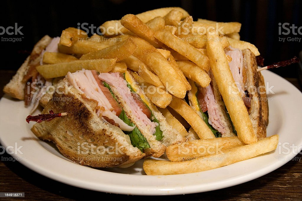 club sandwich and fries royalty-free stock photo