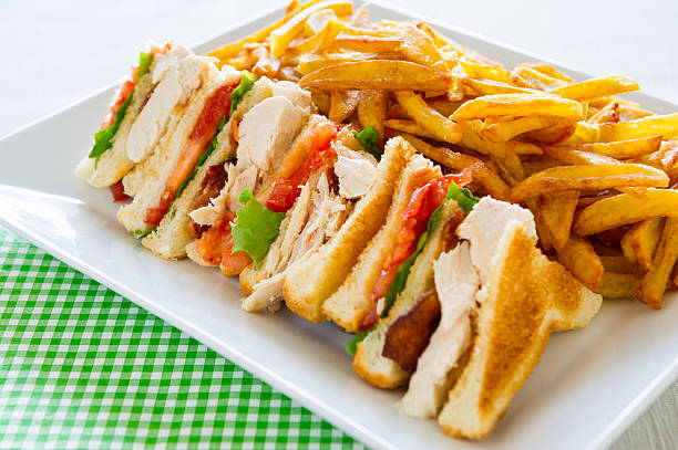 club sandwich meal - club sandwich stock photos and pictures