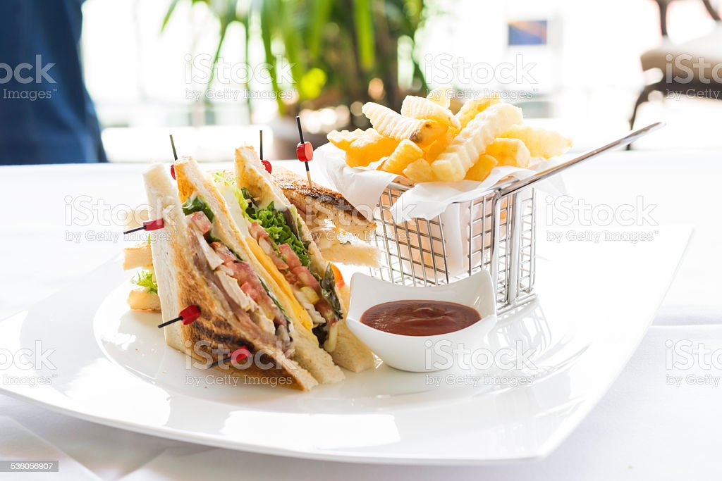 Carte Black Cmb.Club Sandwich With Cheese Cucmber Tomato Lettuce And French Stock